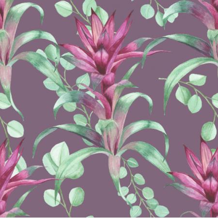 Tkanina 19239   guzmania  fiolet
