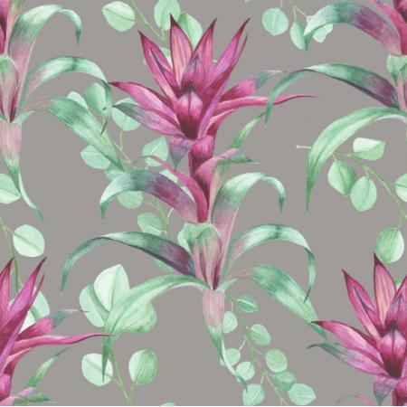 Fabric 19240 | guzmania szarość