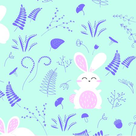 Fabric 19249 | króliki na łące mięta
