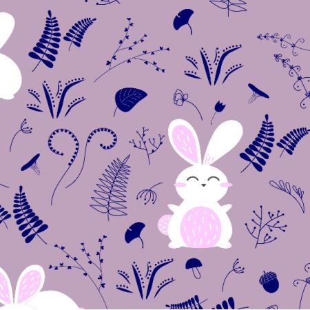 Fabric 19250 | króliki na łące pudrowy róż