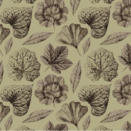Fabric 19286 | LISTKI SEPIA I DESSERT SAGE