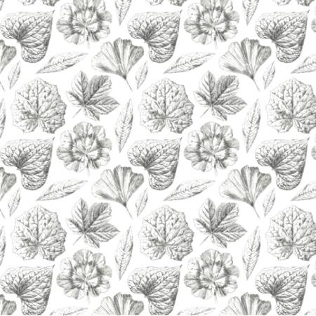 Fabric 19292 | LISTKI CZARNO BIAŁE  - Black & White leaves