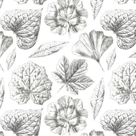 Fabric 19294 | BIAŁO CZARNE LIŚCIE - BLACK AND WHITE LEAVES