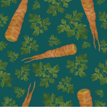 Tkanina 19328 | parsley&carrots turkos
