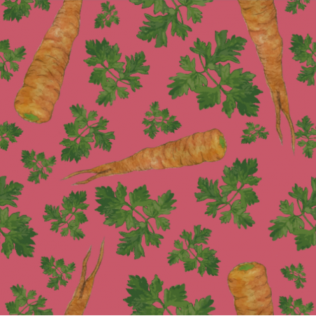 Tkanina 19329 | parsley&carrots pinki
