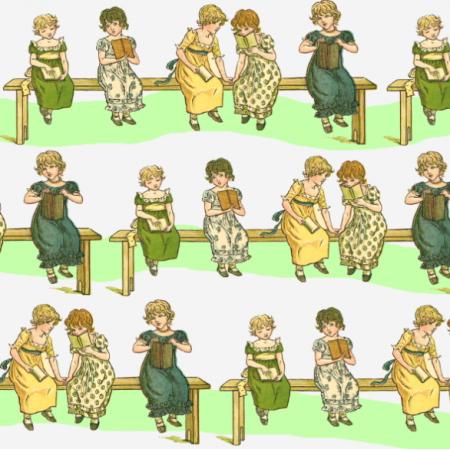 19343 | Dziewczynki z książęczkami - Białe tło