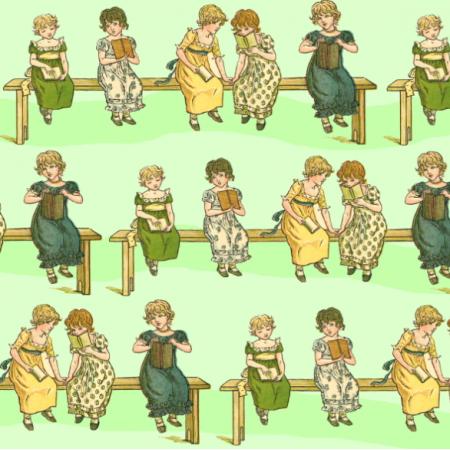 Tkanina 19345 | Dziewczynki z książeczkami - Zielone Tło