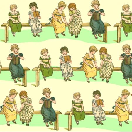 Fabric 19346 | Dziewczynki z książeczkami - KREMOWE TŁO