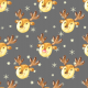 Tkanina 19493   Cute reindeers on grey Large