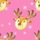 Tkanina 19495 | Cute reindeers on pink xl
