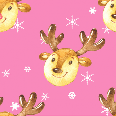 Fabric 19495 | Cute reindeers on pink xl