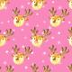 Tkanina 19496   Cute reindeers on pink large
