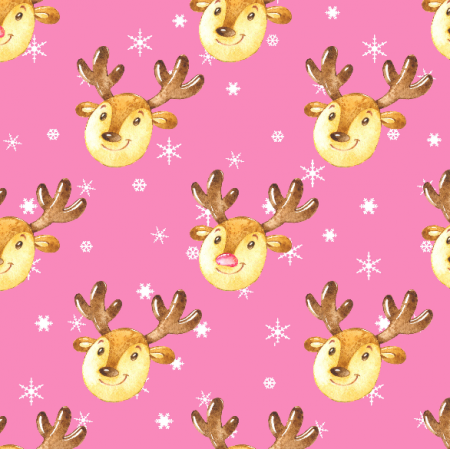 Fabric 19496 | Cute reindeers on pink large