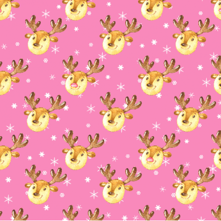 Tkanina 19497 | Cute reindeers on pink small