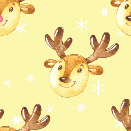 Tkanina 19498 | Cute reindeers on yellow xl