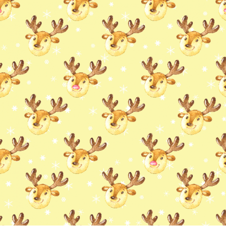Fabric 19500 | Cute reindeers on yellow small