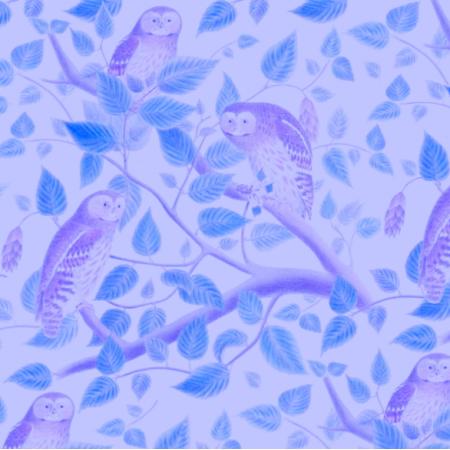 Fabric 19516 | NIEBIESKIE SOWY - BLUE OWLS