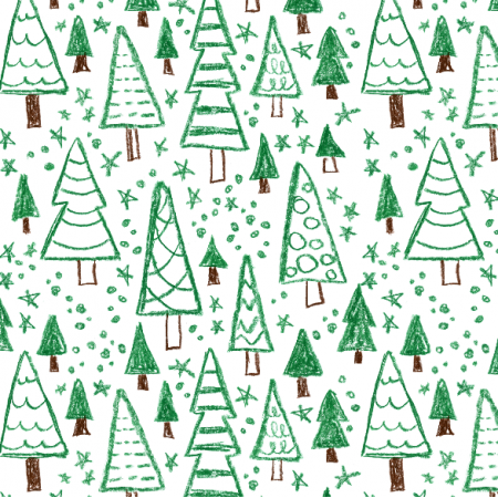 Fabric 19537 | Fir tree. naive style pattern