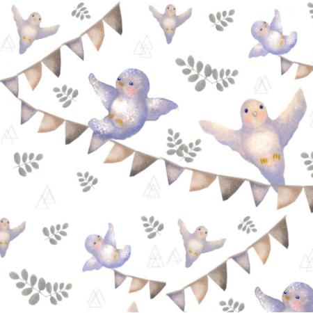 Fabric 19546 | ptaszki lila