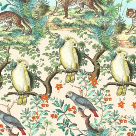 Fabric 19593 | Tropikalna dżungla Na kremowym tle