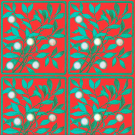 Fabric 19597 | MERRY CHRISTMAS - ŚWIĄTECZNA GAŁĄZKA JEMIOŁY