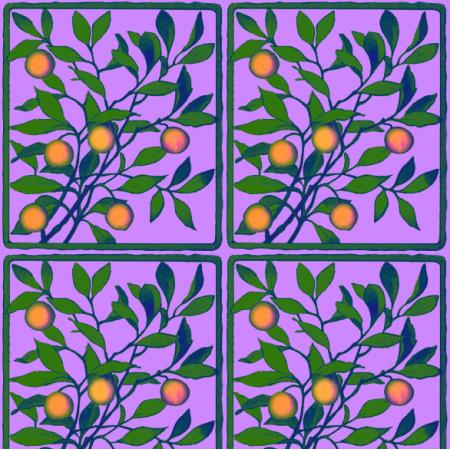 Fabric 19601 | GAŁĄZKA POMARAŃCZY NA FIOLETOWYM TLE