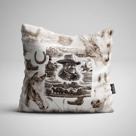 Fabric Pillow panel Country Western Sepia