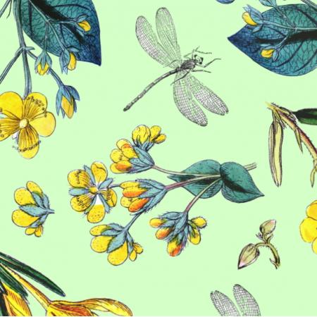 Tkanina 19676 | Zółte kwiatki i ważki na zielonym tle