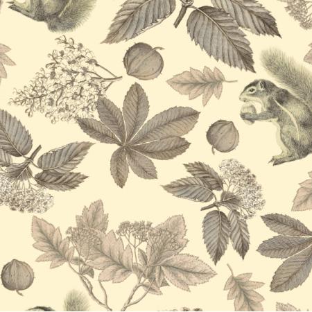 Fabric 19682 | Jesienne Liście I wiewiórki na kremowym tle
