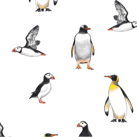 Fabric 19732 | penguins & Puffins