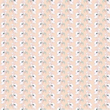 Fabric 19823 | Little white rabbits apricot