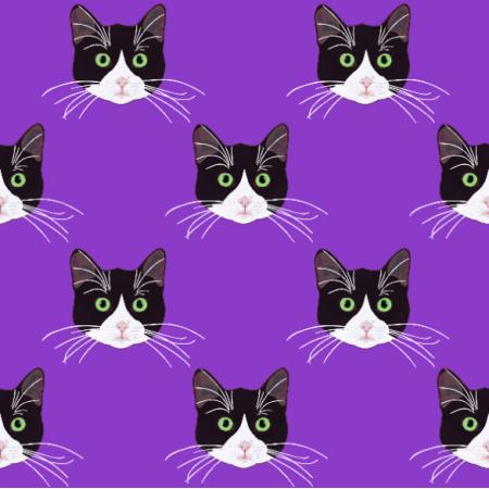 Fabric 19824 | B&W Cats purple