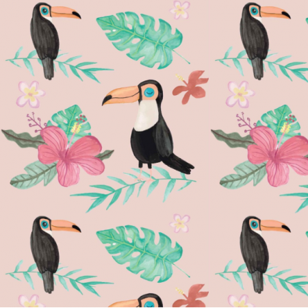 Fabric 19831 | Tropical pink with toucan