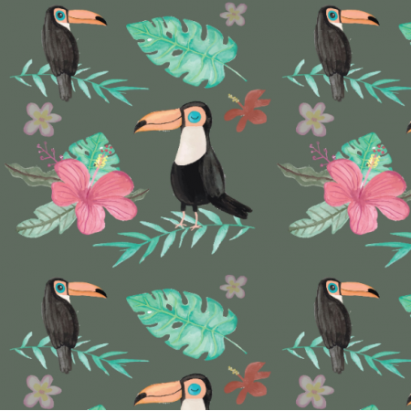 Fabric 19832 | Tropical green with toucan