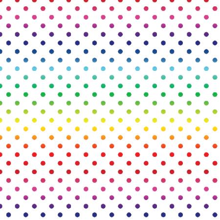Tkanina 19840 | teczowe kropeczki / white / medium