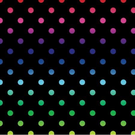 Tkanina 19842 | teczowe kropeczki / black / xl