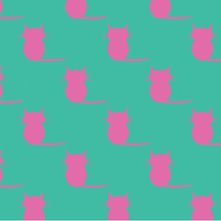 Tkanina 19850 | kotki pink / minty medium