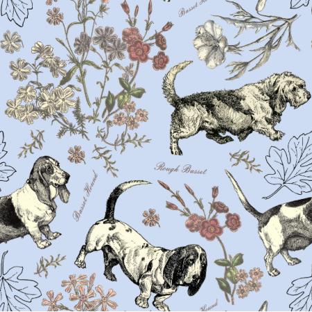 Fabric 19859 | PSY BASSETY NA BŁĘKITNYM TLE