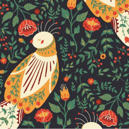 19878 | Folk birds and flowers