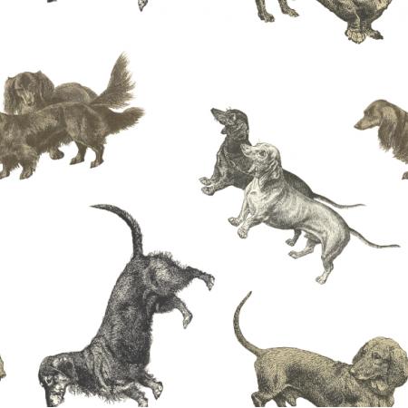 Tkanina 19887 | PSY JAMNIKI NA BIAŁYM TLE - DACHSHUND DOGS ON WHITE