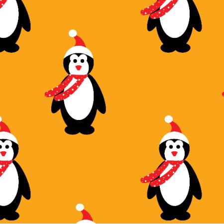 Fabric 19896   pingwinki na orange xl