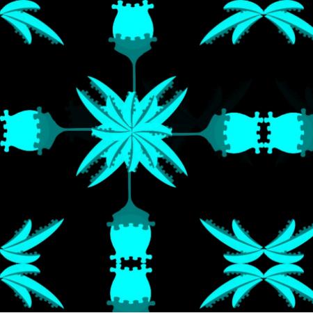 Fabric  | kwiaty niebieski neon