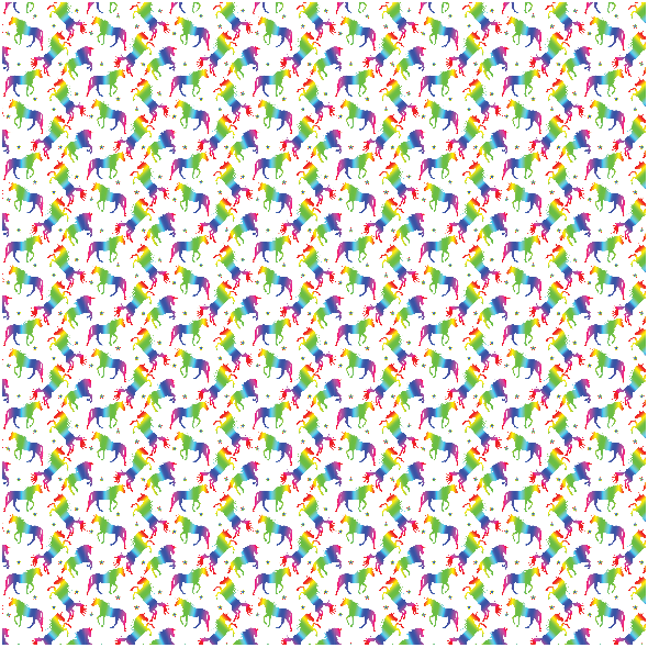 Fabric 19991 | Teczowe jednorozce white xl