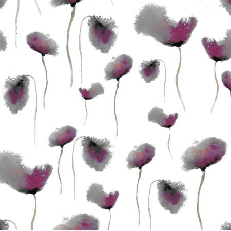 Tkanina 20066 | pastelowe, szare, różowe maki - poppies