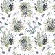 Fabric 20107 | POLNE KWIATY I NIEBIESKIE MOTYLE