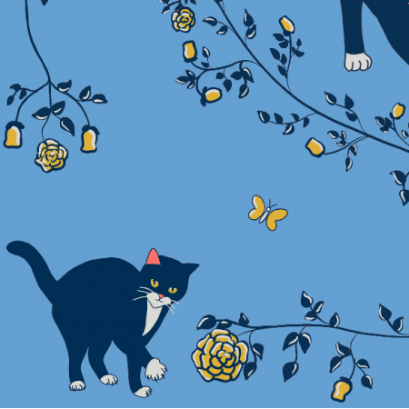 Fabric 20136 | cats & gold roses (blue)