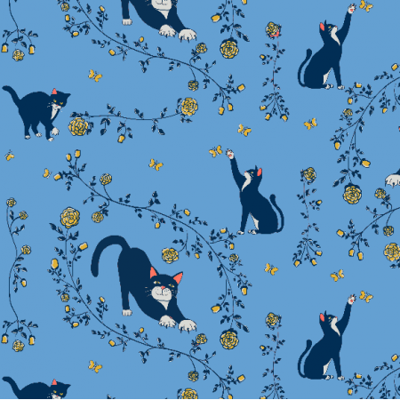 Fabric 20138 | cats & gold roses (blue) 2