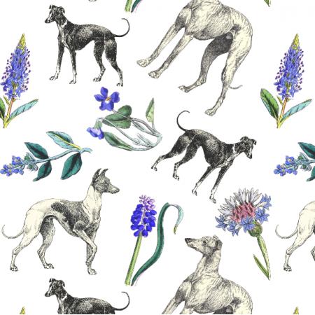 20197 | Psy Charty i polne kwiatki białe tło