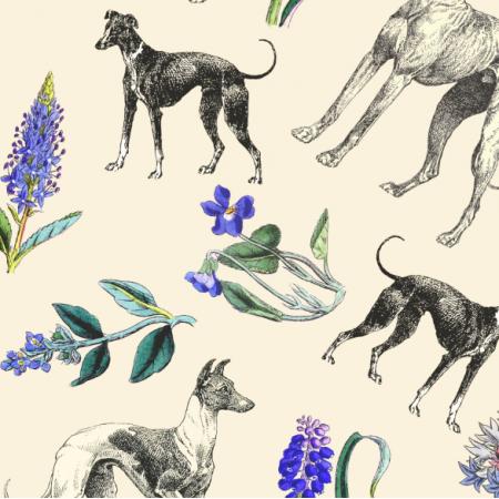 Fabric 20200 | Psy Charty i niebieskie kwiatki Kremowe tło