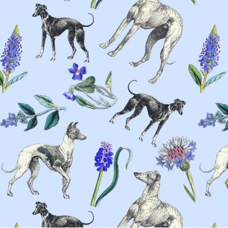 Fabric 20201 | Psy Charty i niebieskie kwiatki na niebieskim tle